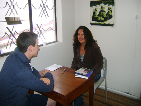 Student with Spanish Teacher in the Terracentro Spanishschool in Quito - Ecuador
