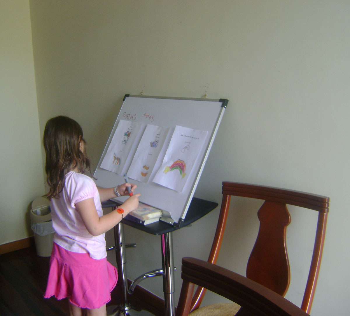 A girl learning Spanish